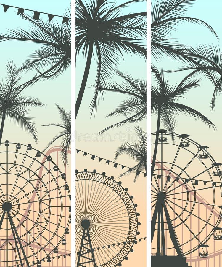 Sistema de banderas con la montaña rusa y Ferris Wheel. ilustración del vector