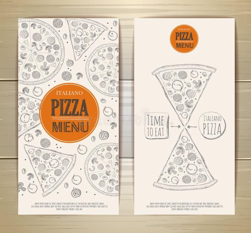 Sistema de banderas con la pizza Ejemplo del bosquejo ilustración del vector