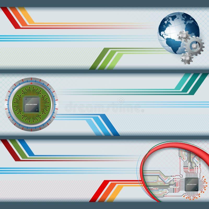 Sistema de banderas con los circuitos electrónicos, microprocesador de procesador y globo de la tierra stock de ilustración
