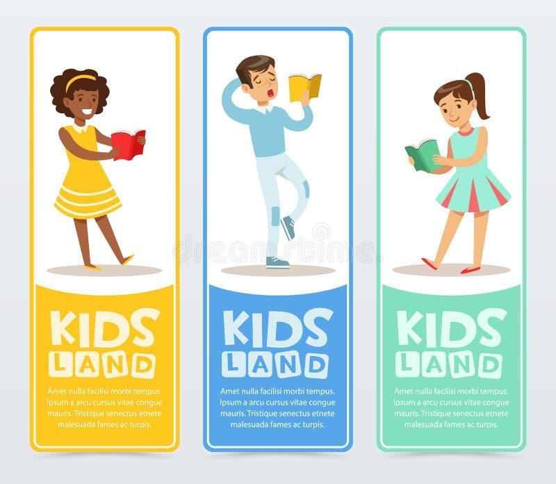 Sistema de banderas con los libros de lectura de los adolescentes Educación y concepto de la escuela Promover el centro de desarr libre illustration