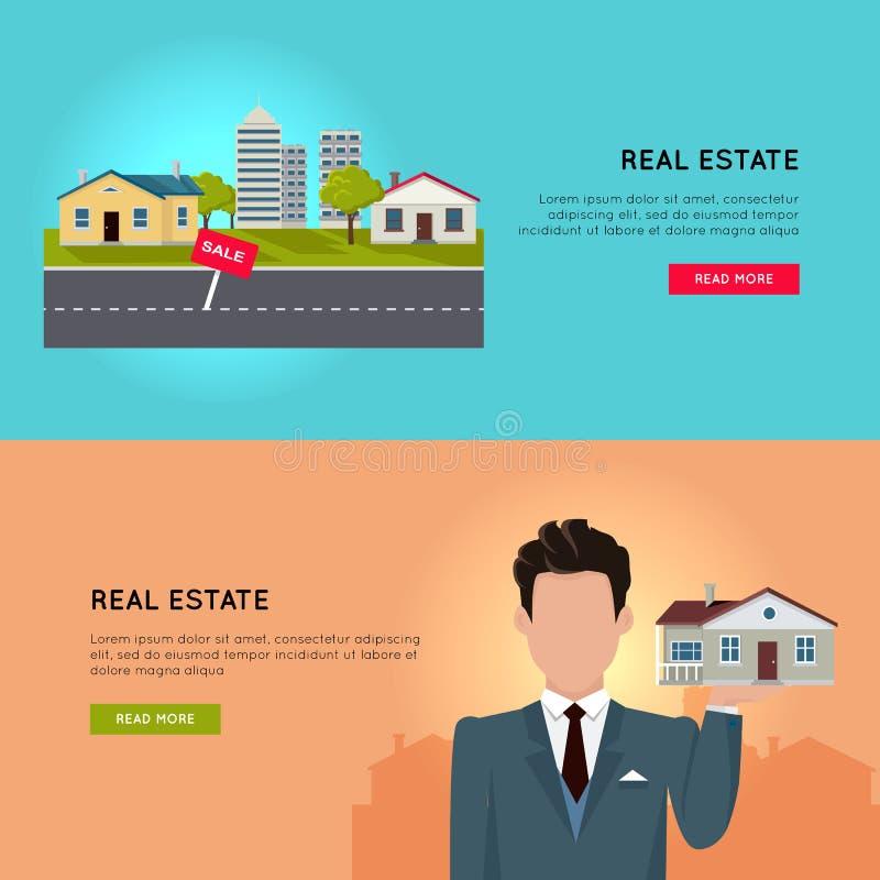 Sistema de banderas conceptuales del web del vector de Real Estate stock de ilustración