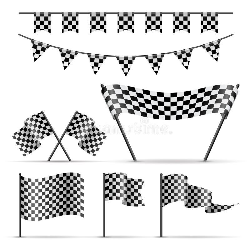 Sistema de banderas a cuadros del deporte libre illustration