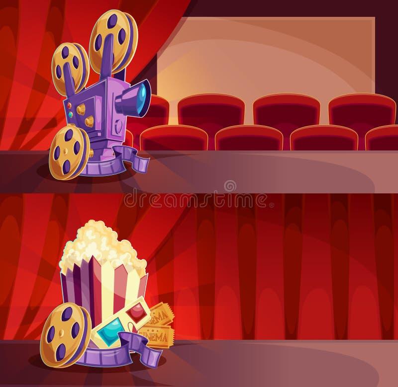 Sistema de banderas de la historieta del vector con un pasillo del cine, una pantalla y cortinas rojas stock de ilustración