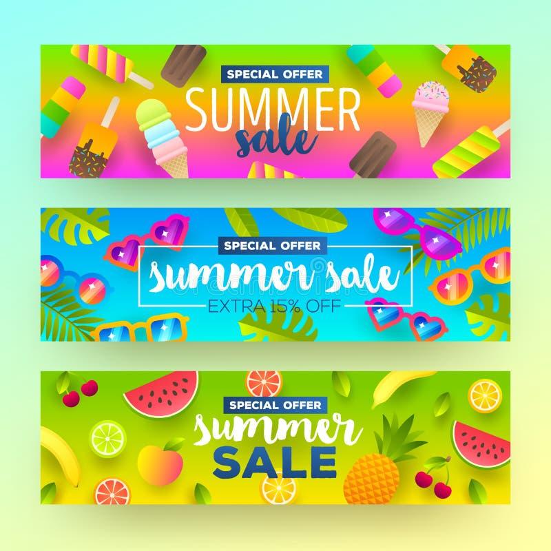 Sistema de banderas de la venta del verano ilustración del vector
