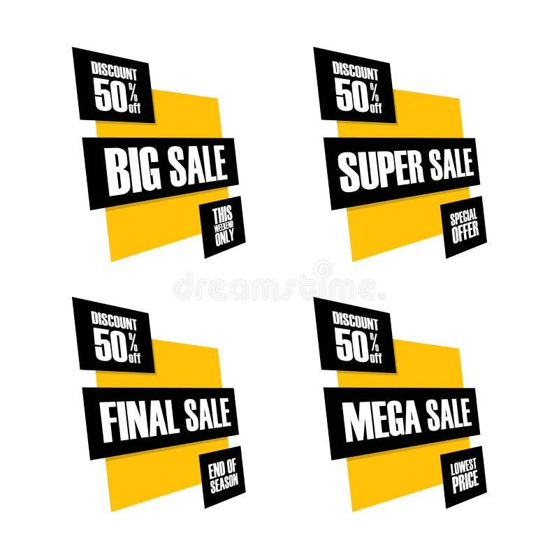 Sistema de banderas de la venta Venta grande, estupenda, final y mega Este fin de semana, oferta especial, el precio bajo, finale ilustración del vector