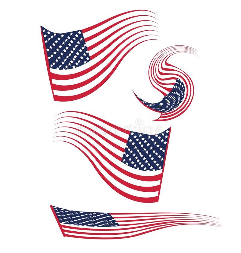 Sistema de banderas de los E.E.U.U. stock de ilustración