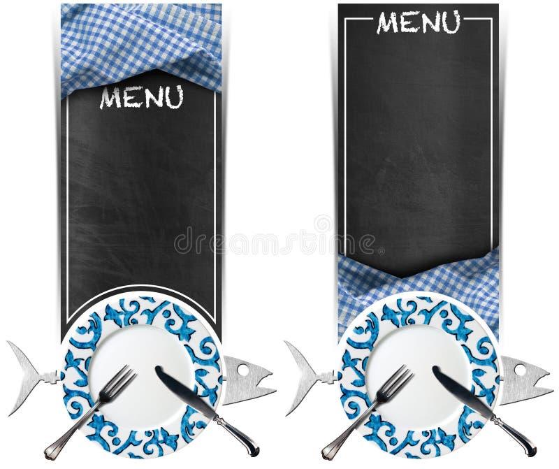 Sistema de banderas de los mariscos - menú de la pizarra ilustración del vector