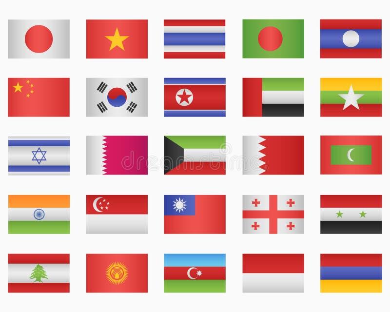 Sistema de banderas de países asiáticos ilustración del vector