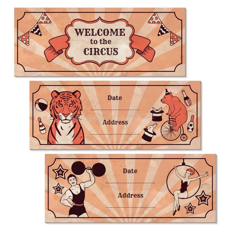 Sistema de banderas del anuncio de circo stock de ilustración