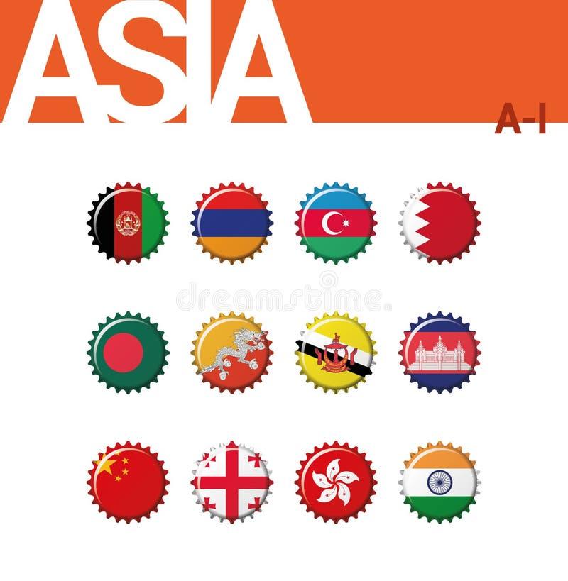 Sistema de 12 banderas del bottlecap de Asia A-I Fije 1 de 4 libre illustration