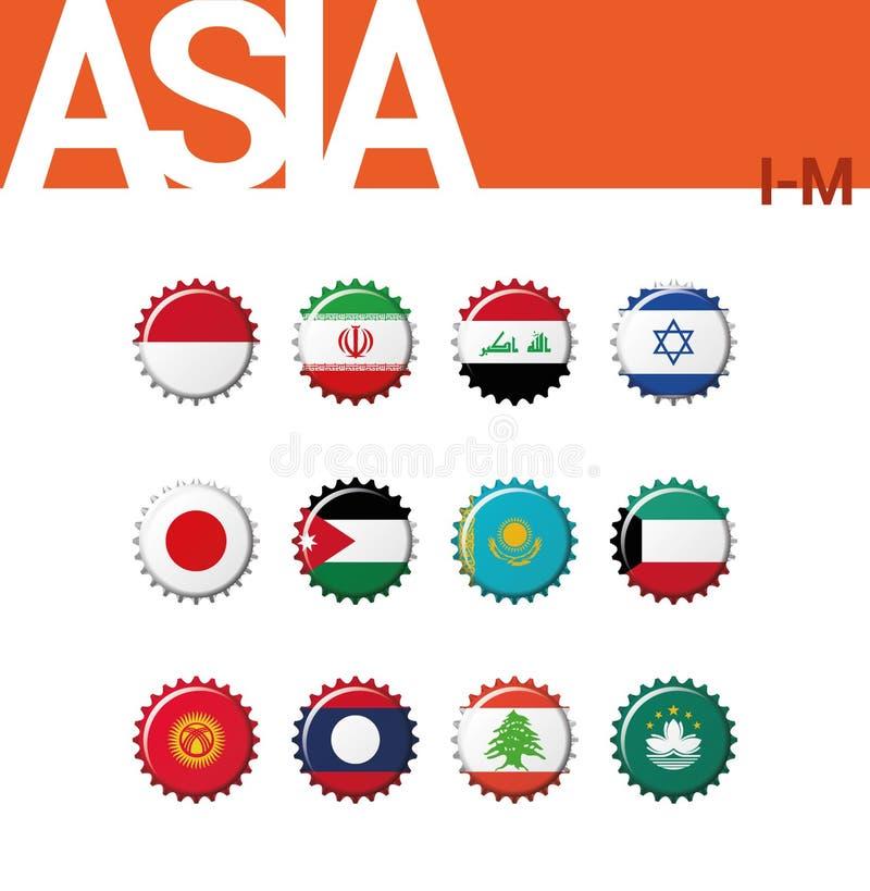 Sistema de 12 banderas del bottlecap de Asia I-M Sistema 2 de 4 ilustración del vector