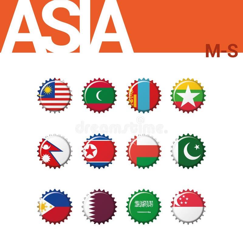 Sistema de 12 banderas del bottlecap de Asia M-S Sistema 3 de 4 stock de ilustración
