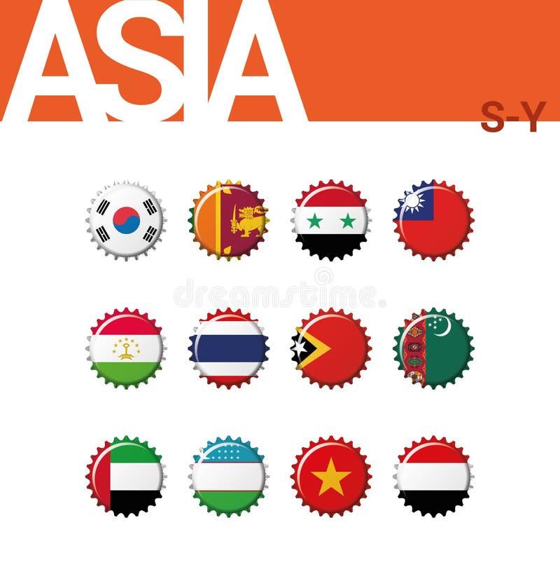 Sistema de 12 banderas del bottlecap de Asia S-Y Sistema 4 de 4 ilustración del vector