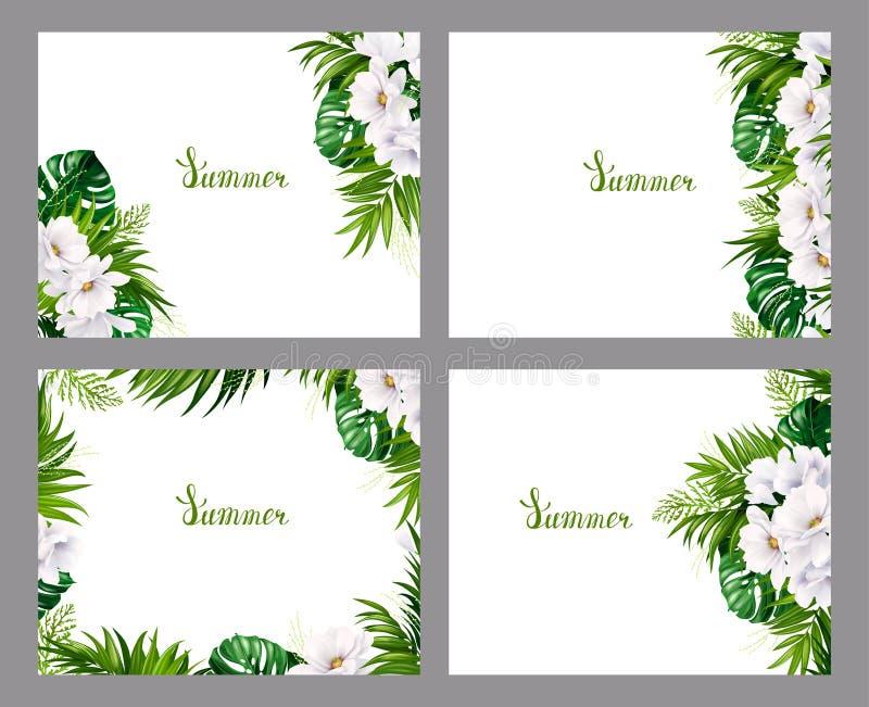 Sistema de banderas del día de fiesta con la palma tropical verde, las hojas del monstera y las flores florecientes de la magnoli stock de ilustración