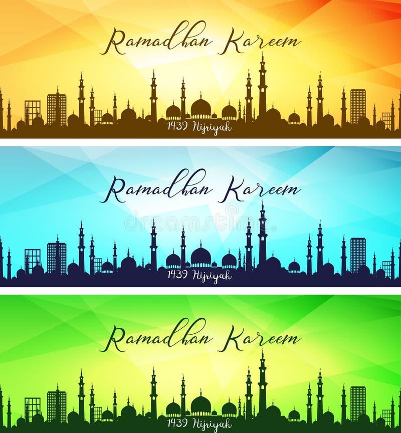 Sistema de banderas del kareem del Ramadán stock de ilustración