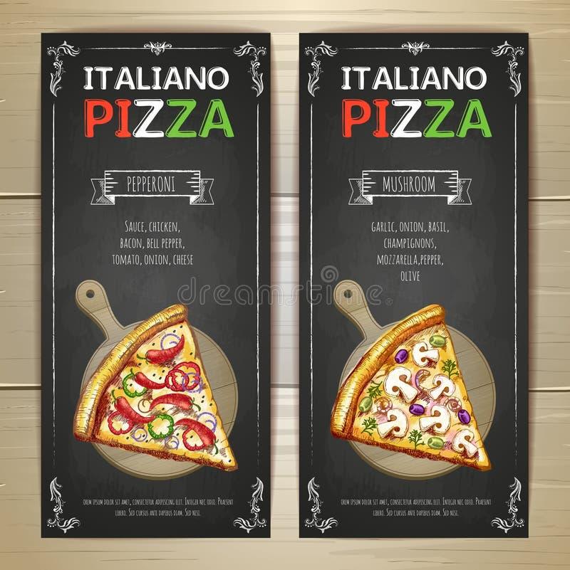 Sistema de banderas del menú de la pizza stock de ilustración