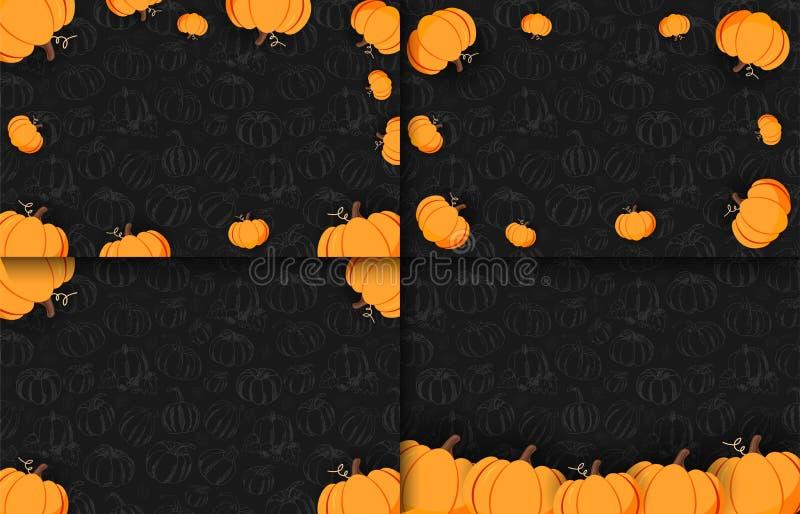 Sistema de banderas del otoño en el fondo oscuro con las calabazas del Mano-drenaje Día de la acción de gracias Para la venta que ilustración del vector