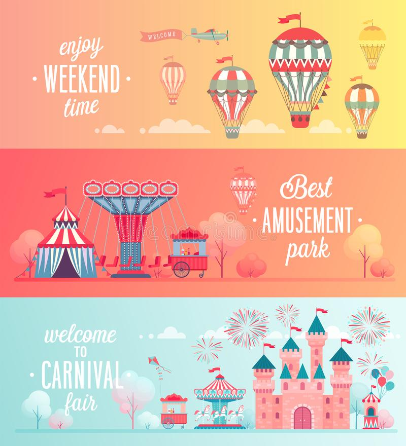 Sistema de banderas del paisaje del parque de atracciones libre illustration