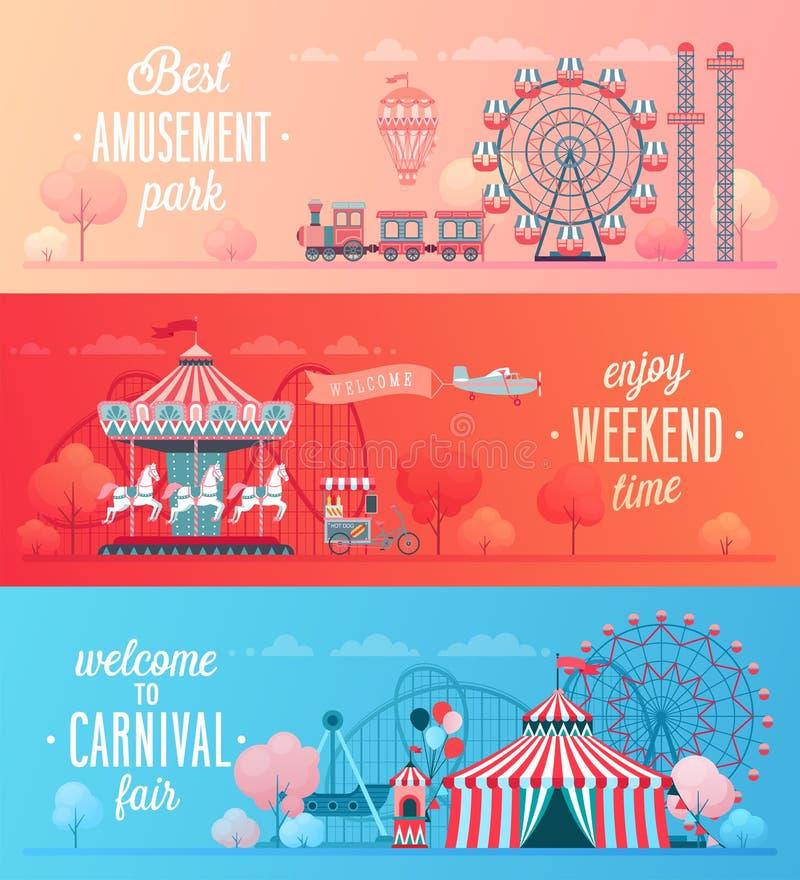 Sistema de banderas del paisaje del parque de atracciones ilustración del vector