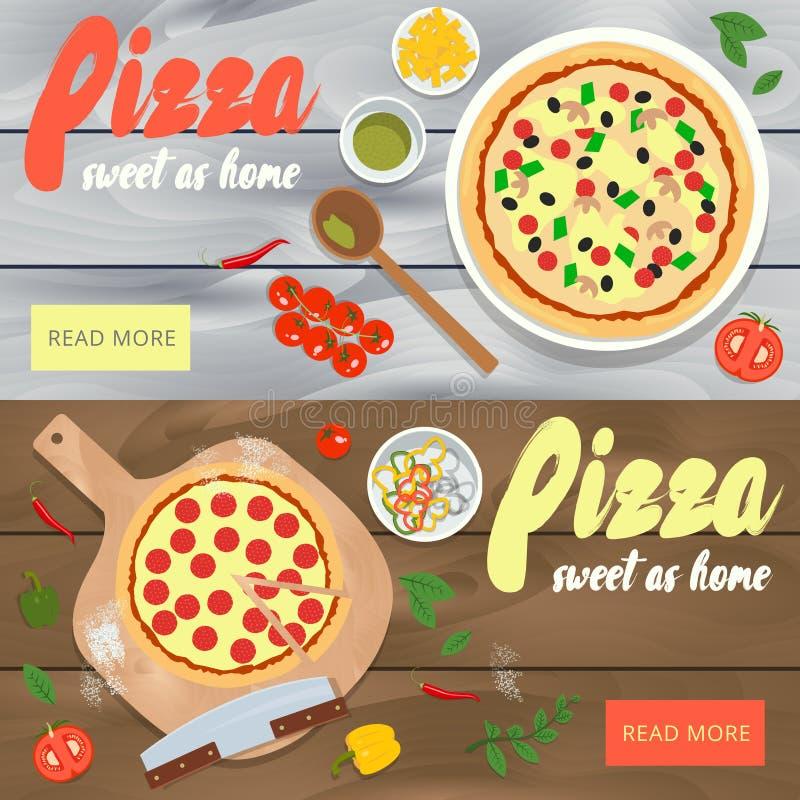 Sistema de banderas del vector con el anuncio del restaurante de la pizza Woode stock de ilustración