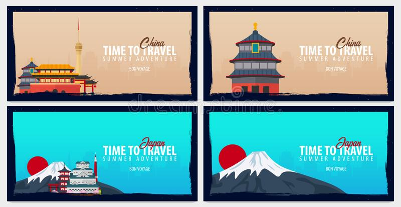 Sistema de banderas del viaje a China y a Japón Hora de viajar Viaje, viaje y vacaciones Ejemplo plano del vector stock de ilustración