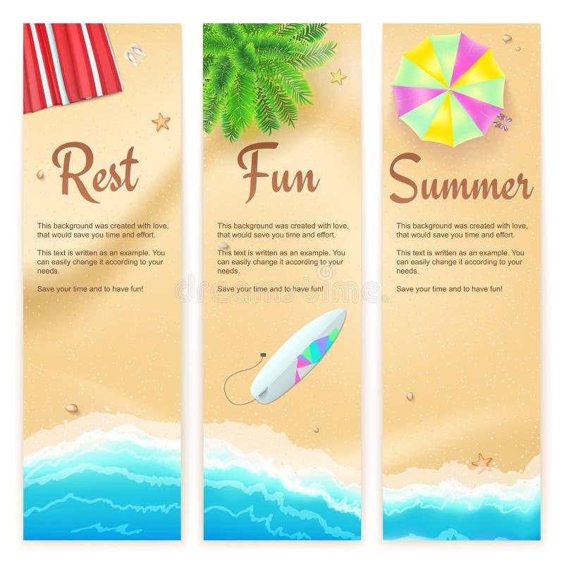 Sistema de banderas del viaje del verano Paisaje tropical, mar azul, arena del oro, estera de la playa, palma, tabla hawaiana, vi stock de ilustración