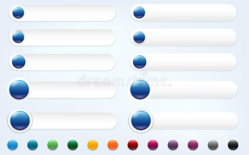 Sistema de banderas del web con el lugar para su texto e iconos stock de ilustración
