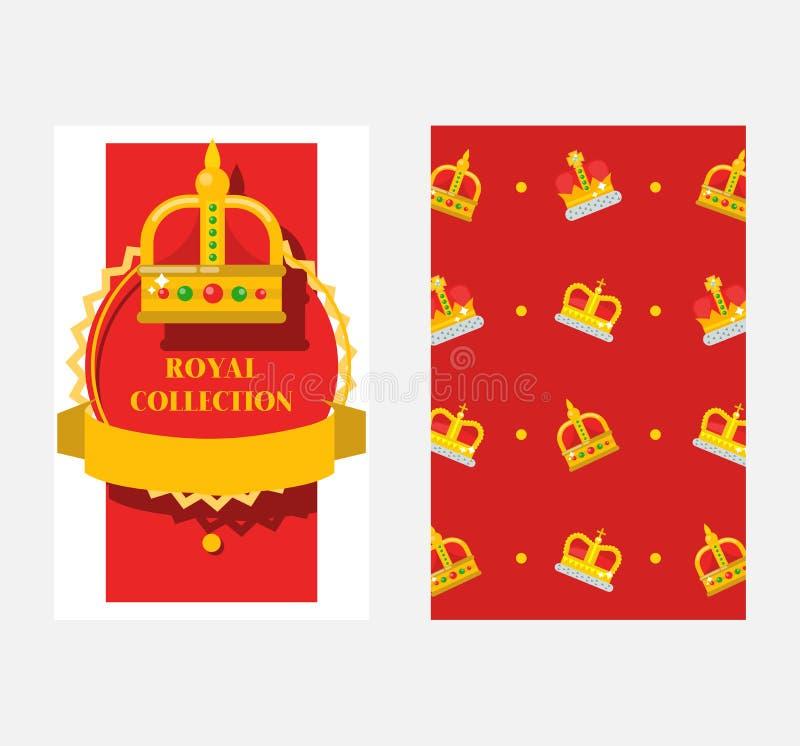 Sistema de banderas, ejemplo de las coronas del vector de los carteles Colección real Accesorios para el rey y la reina, príncipe libre illustration