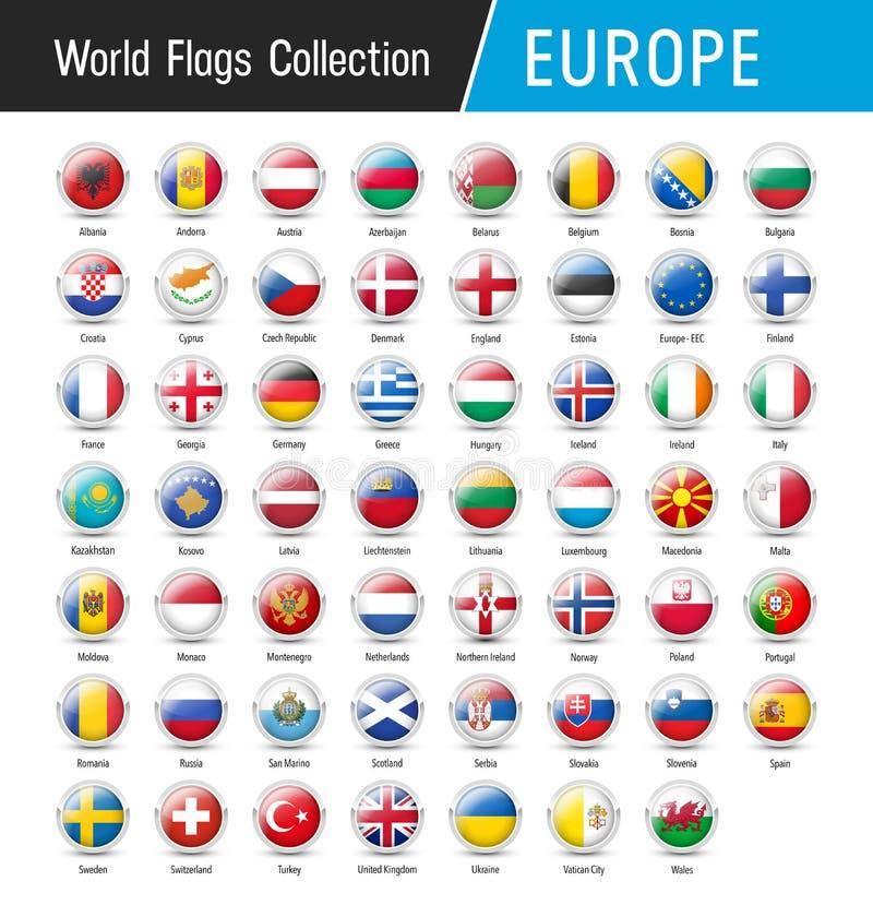 Sistema de banderas europeas - Vector alrededor de iconos ilustración del vector