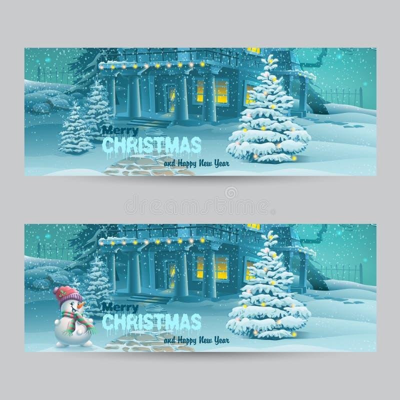 Sistema de banderas horizontales con la Navidad y el Año Nuevo con la imagen de una noche nevosa con un muñeco de nieve y los árb libre illustration