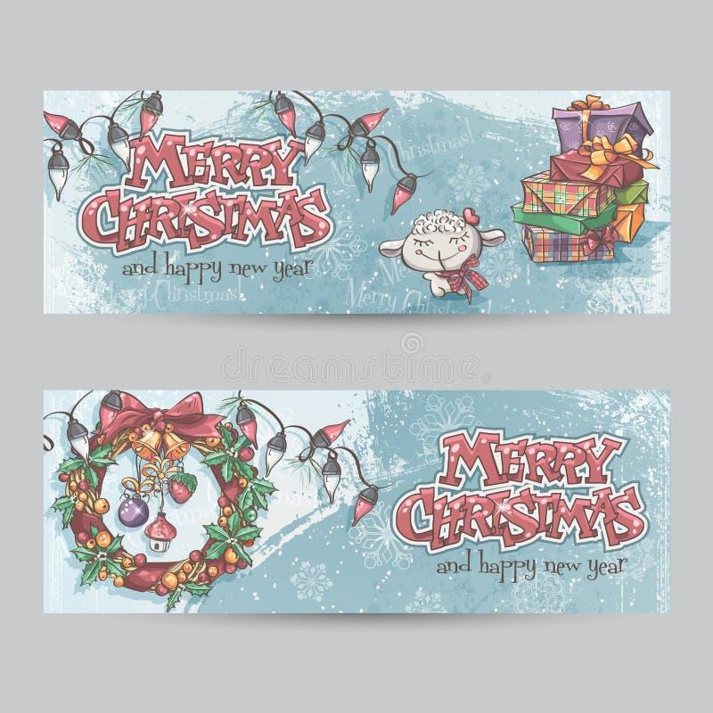 Sistema de banderas horizontales de la Navidad con la imagen de un cordero, de regalos y de guirnaldas de la Navidad libre illustration