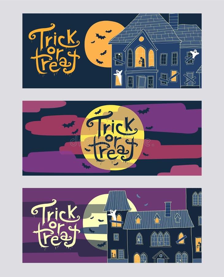 Sistema de banderas horizontales del web de Halloween del truco tres o de la invitación libre illustration