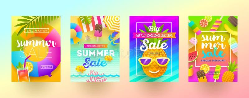 Sistema de banderas de la promoción de venta del verano Vacaciones, días de fiesta y fondo brillante colorido del viaje Diseño de libre illustration
