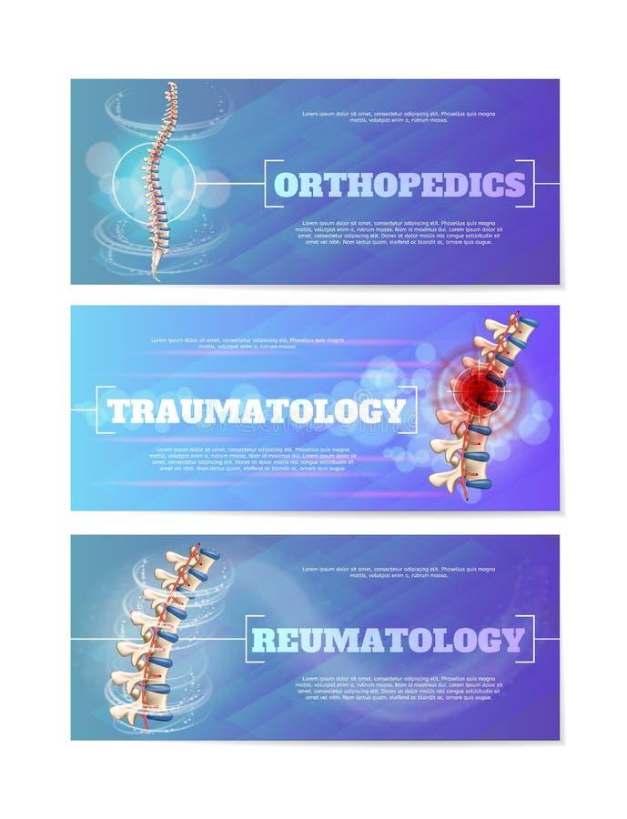 Sistema de banderas médicas del web con vector humano de la espina dorsal stock de ilustración