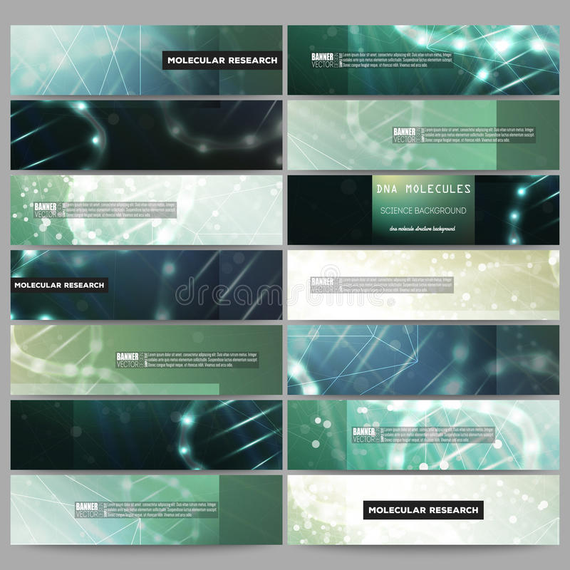 Sistema de banderas modernas del vector Estructura de la molécula de la DNA en fondo verde oscuro libre illustration