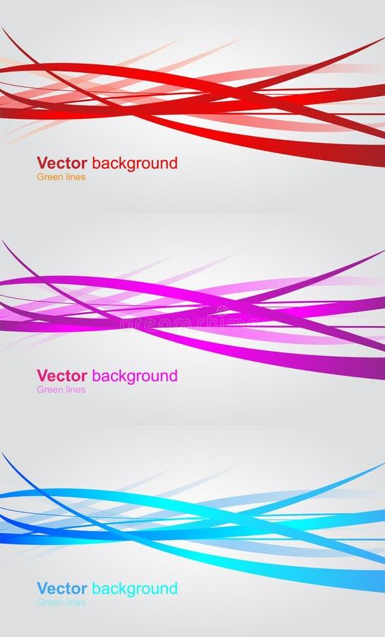 Sistema de banderas onduladas. Fondo abstracto del vector stock de ilustración