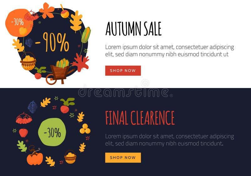 Sistema de banderas planas de la venta del otoño con los objetos y los símbolos remolachas, maíz, zanahoria de la caída Promoción libre illustration