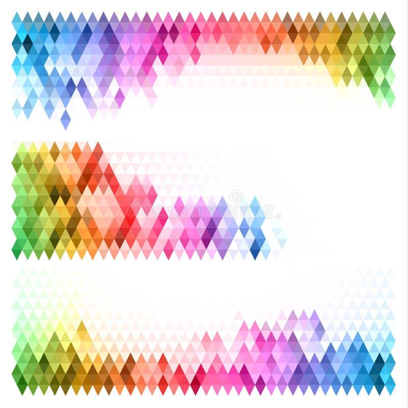 Sistema de banderas triangulares multicoloras ilustración del vector