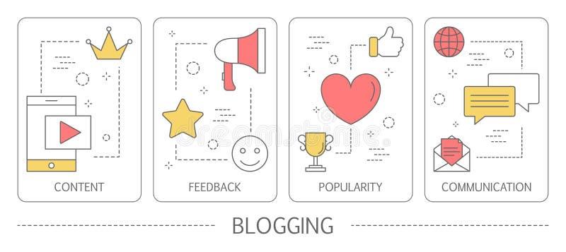 Sistema de banderas verticales blogging ilustración del vector