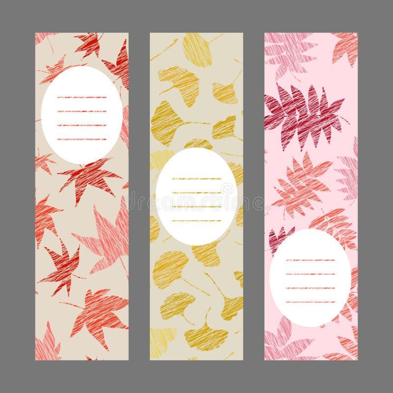 Sistema de banderas verticales del otoño Ornamento de la baya de la cosecha Ilustración del vector ilustración del vector