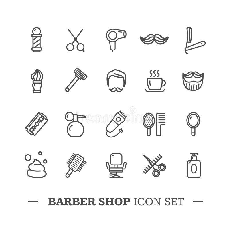 Sistema de Barber Shop Icon Thin Line Vector ilustración del vector