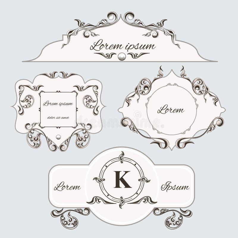 Sistema de bastidor y de etiquetas del ornamento del vintage stock de ilustración