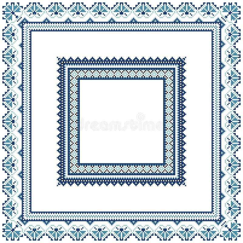 Sistema de bastidores étnicos del modelo del ornamento en colores azules stock de ilustración