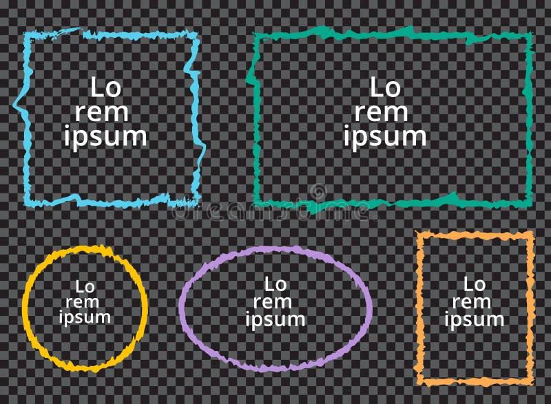 Sistema de bastidores coloridos del grunge en fondo transparente ilustración del vector