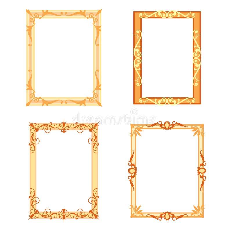 Sistema de bastidores decorativos y de fronteras fijados ilustración del vector
