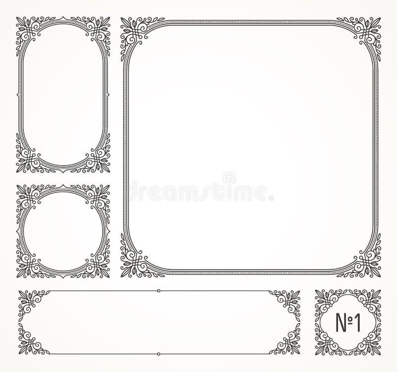 Sistema de bastidores del ornamental de los flourishes ilustración del vector