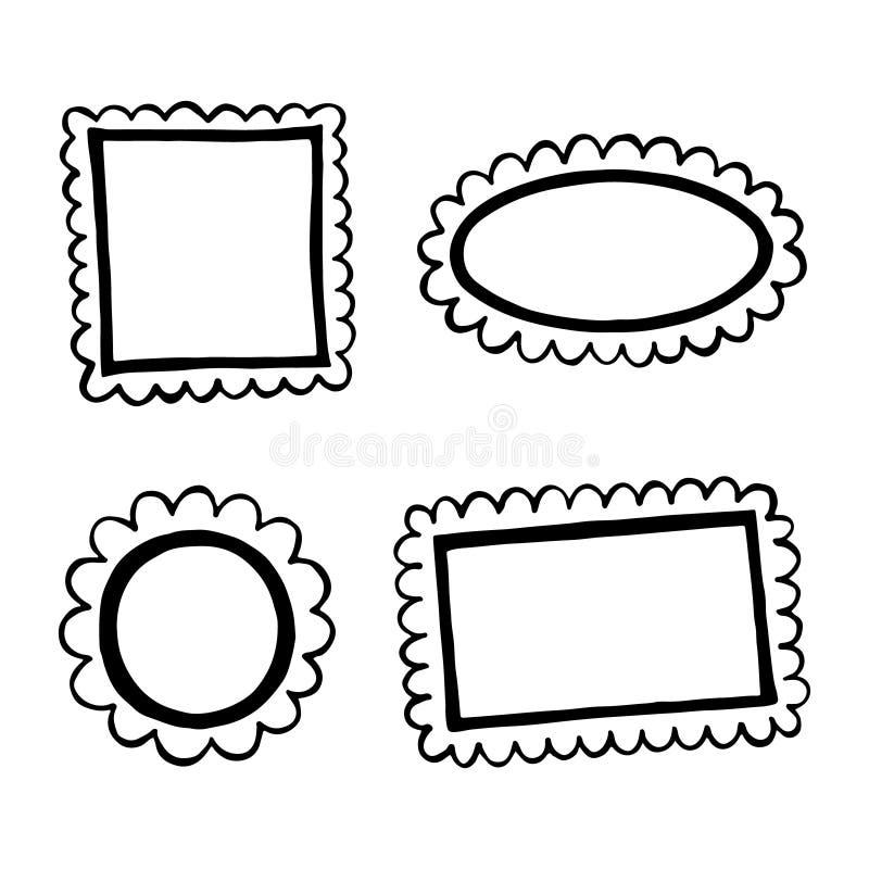 Sistema de bastidores dibujados mano del garabato. ilustración del vector