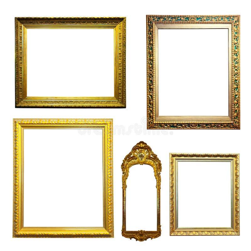 Sistema de bastidores dorados. Aislado sobre el fondo blanco fotografía de archivo libre de regalías