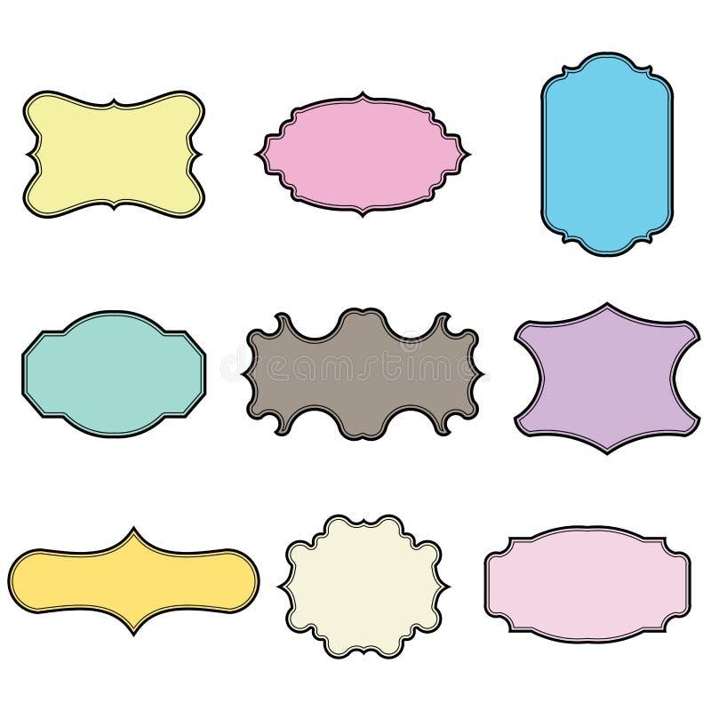 Sistema de bastidores en blanco del vintage Etiquetas del regalo Empapele las escrituras de la etiqueta Diseño plano Vectores ais libre illustration