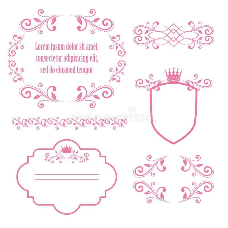 Sistema de bastidores florales rosados con las coronas libre illustration